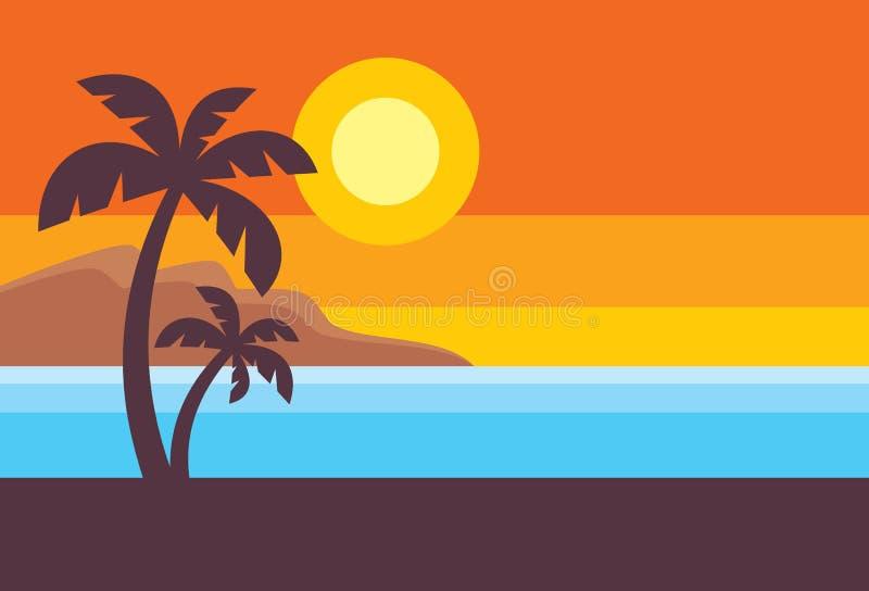Sommarlopp - horisontalbegreppsbanermall, vektorillustration i plan stil Idérik orientering för semester tropisk ferie vektor illustrationer