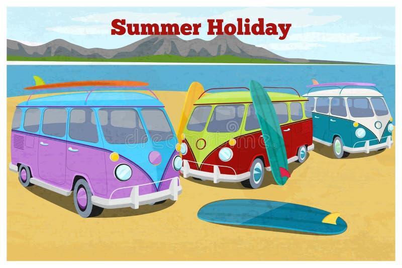 Sommarloppdesign med att surfa campareskåpbilen vektor illustrationer