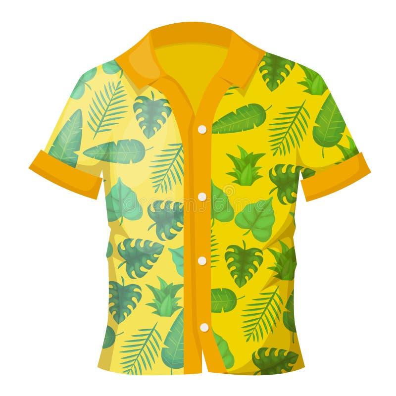 Sommarmäns färgrika skjorta med en dekorativ hawaiansk prydnad vektor illustrationer