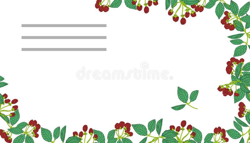 Sommarmallar med bär Mall för din design, hälsningkort, festliga meddelanden stock illustrationer