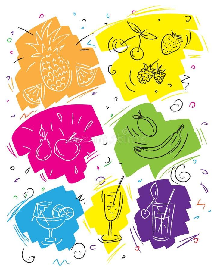Sommarmenymallen, konturbild stiliserade vid handen, för stänger och kaféer royaltyfri illustrationer
