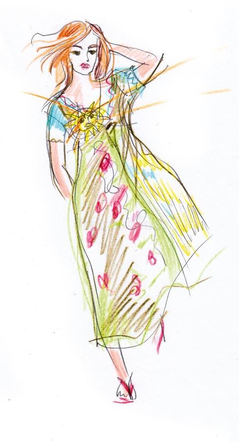 Sommarmode - räcka den utdragna kvinnan i blått-gräsplan sommarklänning och sandaler royaltyfria foton