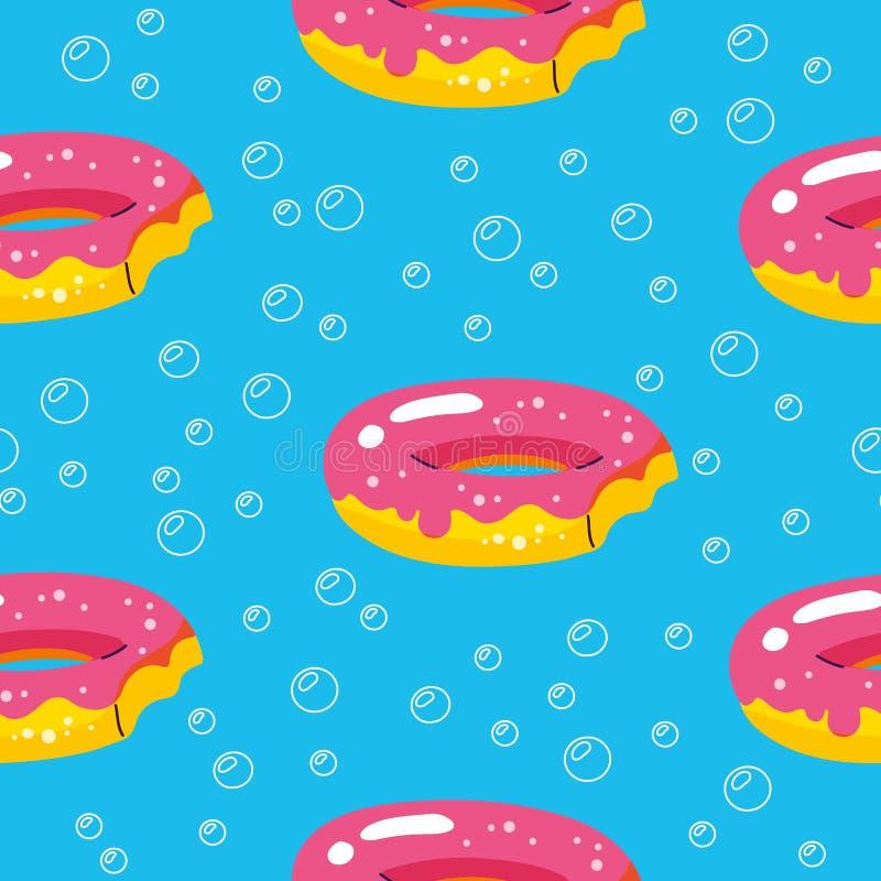Sommarmodell med donutsflöten och pöl på bubblabakgrund Abstrakt tropisk sömlös modell F?r textil vektor illustrationer
