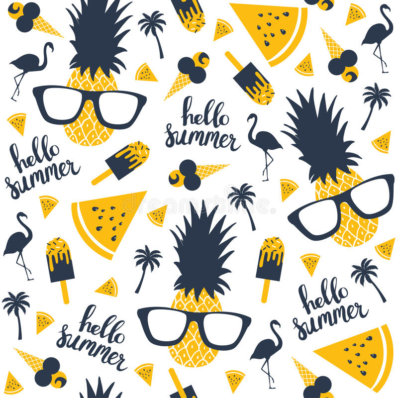 Sommarmodell Vattenmelon ananas royaltyfri illustrationer