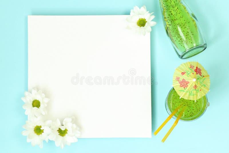 Sommarmodellmall med coctailen royaltyfri bild