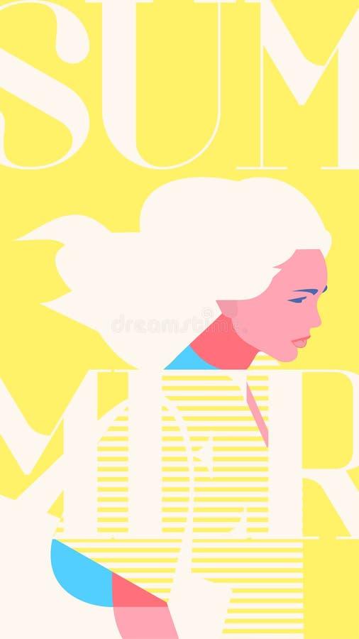 Sommarmodeståenden av en blondie modellerar flickan Retro moderiktig gul färgberättelsemall royaltyfri illustrationer