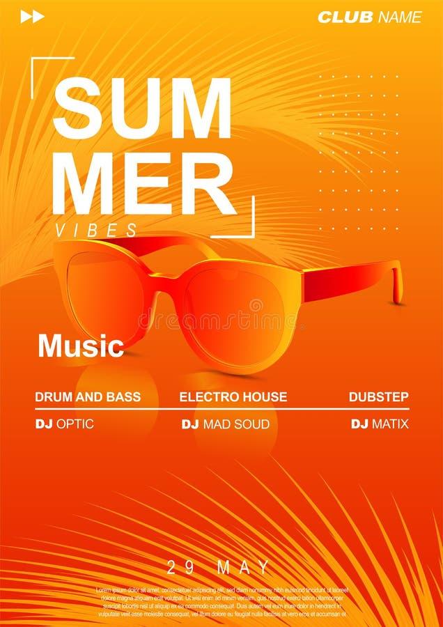 Sommarmusikaffisch med solglasögon och palmblad R?kningsdesign f?r elektronisk musik f?r sommarfest- eller discjockeypartireklamb stock illustrationer