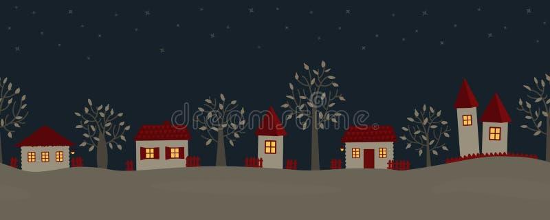 Sommarnatt i byn Landet landskap royaltyfri illustrationer