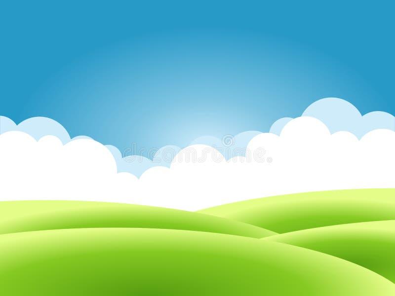 Sommarnaturbakgrund, ett landskap med gröna kullar och ängar, blå himmel och moln royaltyfri illustrationer