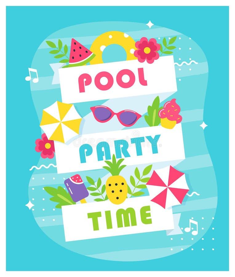 Sommarpöl eller strandpartiaffisch eller inbjudankort vektor illustrationer