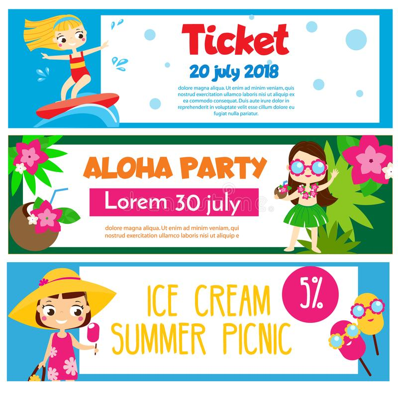Sommarpartibaner Inbjudningar annonseringar med lyckliga barn som har strandgyckel och aktivitet royaltyfri illustrationer
