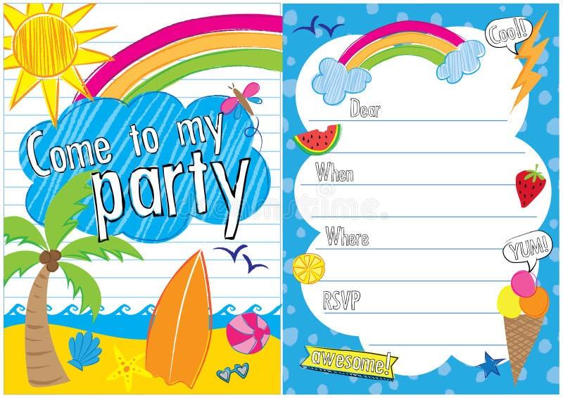 Sommarpartiet inviterar vektor illustrationer