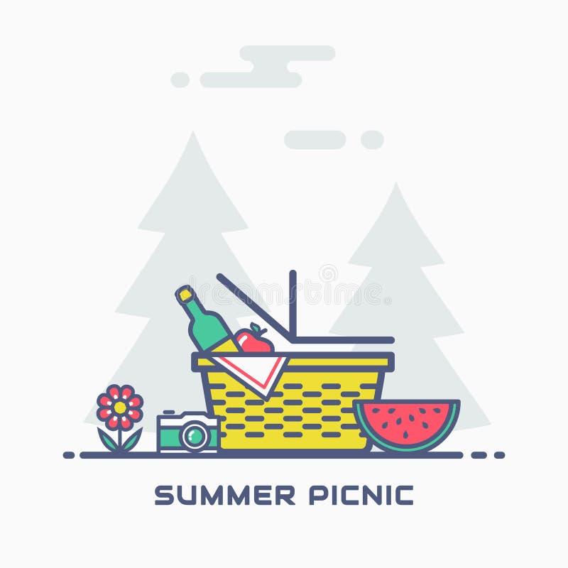 sommarpicknick i natur i lager vektor för baner eps10 mapp royaltyfri illustrationer