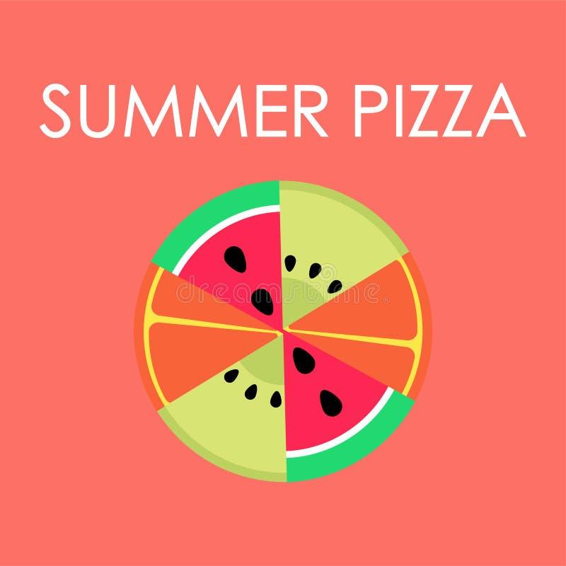 Sommarpizza med frukter som bor korallbakgrund vektor illustrationer