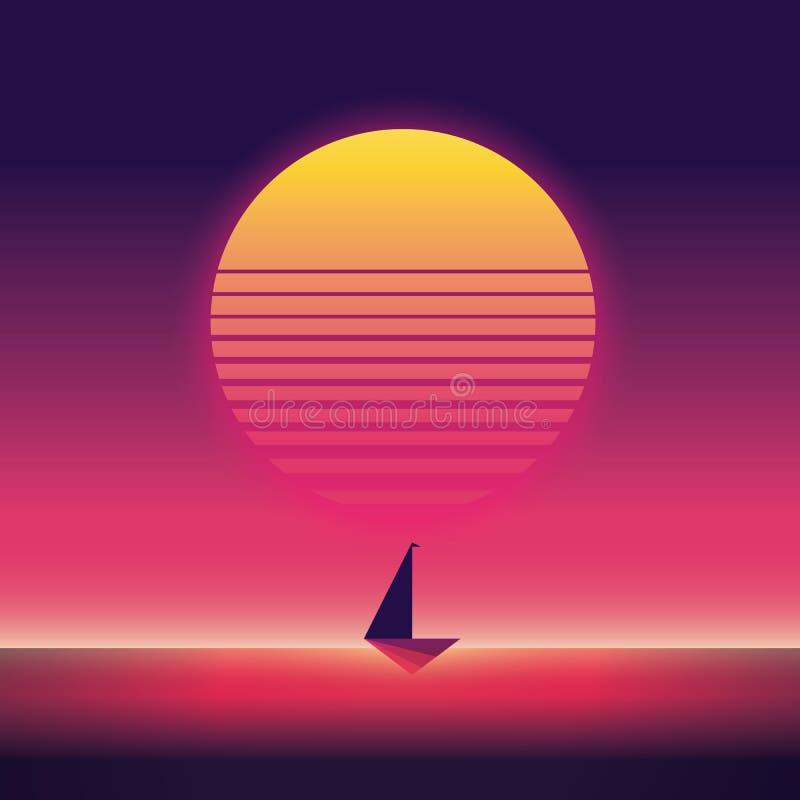 Sommarresande och ferievektoraffisch med yachtsegling i solnedgång stil för tappning för 80-talneon retro stock illustrationer