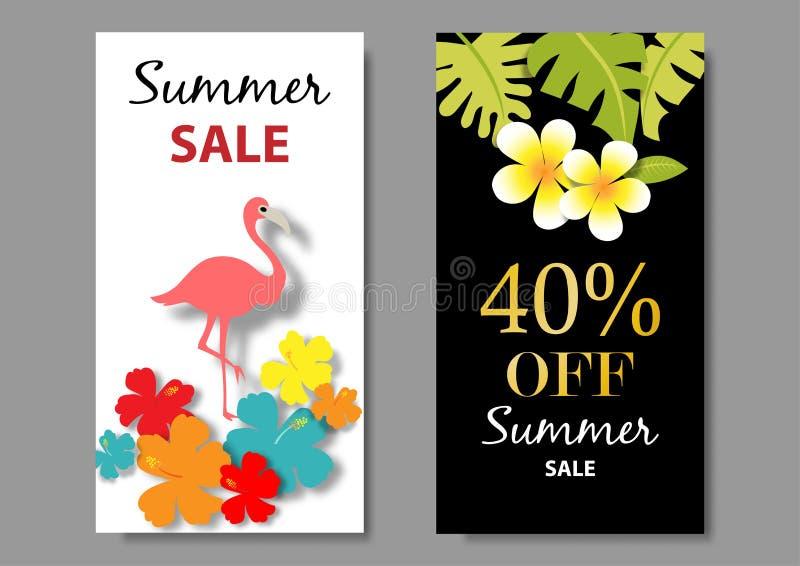 SommarSale bakgrund med den tropiska designvektorn royaltyfri illustrationer