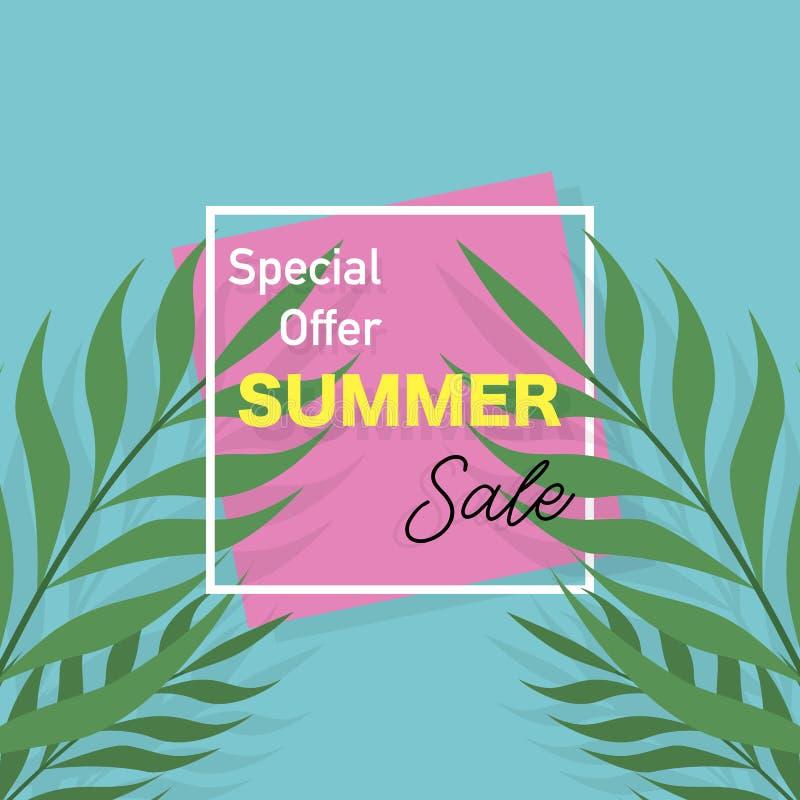 SommarSale baner Affisch med palmblad tropisk bakgrund vektor royaltyfri illustrationer