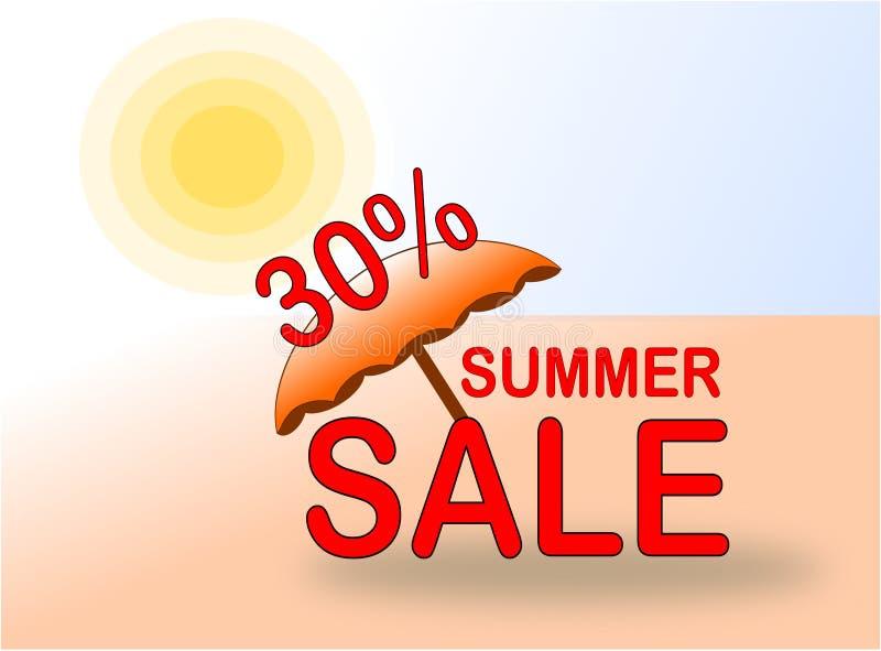 SommarSale 30% baner med sol- och strandparaplyet royaltyfri illustrationer
