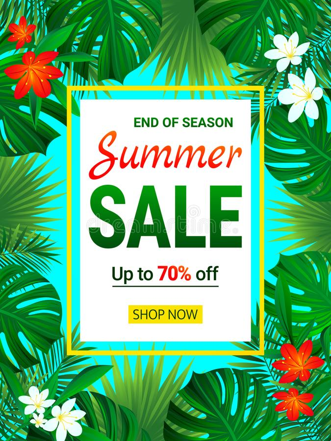 SommarSale baner säsongsbetonad befordranadvertizing Idérikt akvarium med lilla goldfis Vändkretsutförsäljningdesign Blom- bakgru vektor illustrationer