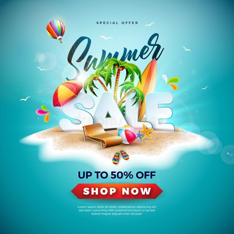SommarSale design med strandbollen och den exotiska palmträdet på tropisk öbakgrund Illustration för specialt erbjudande för vekt stock illustrationer