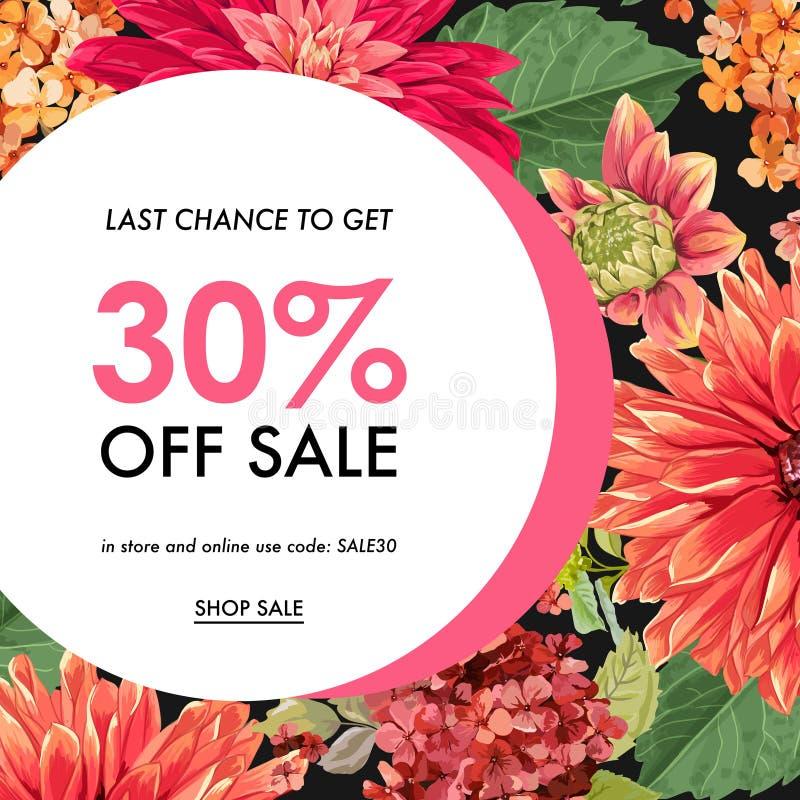 SommarSale tropiskt baner Säsongsbetonad befordran med röda asterblommor och sidor Blom- rabattmalldesign stock illustrationer