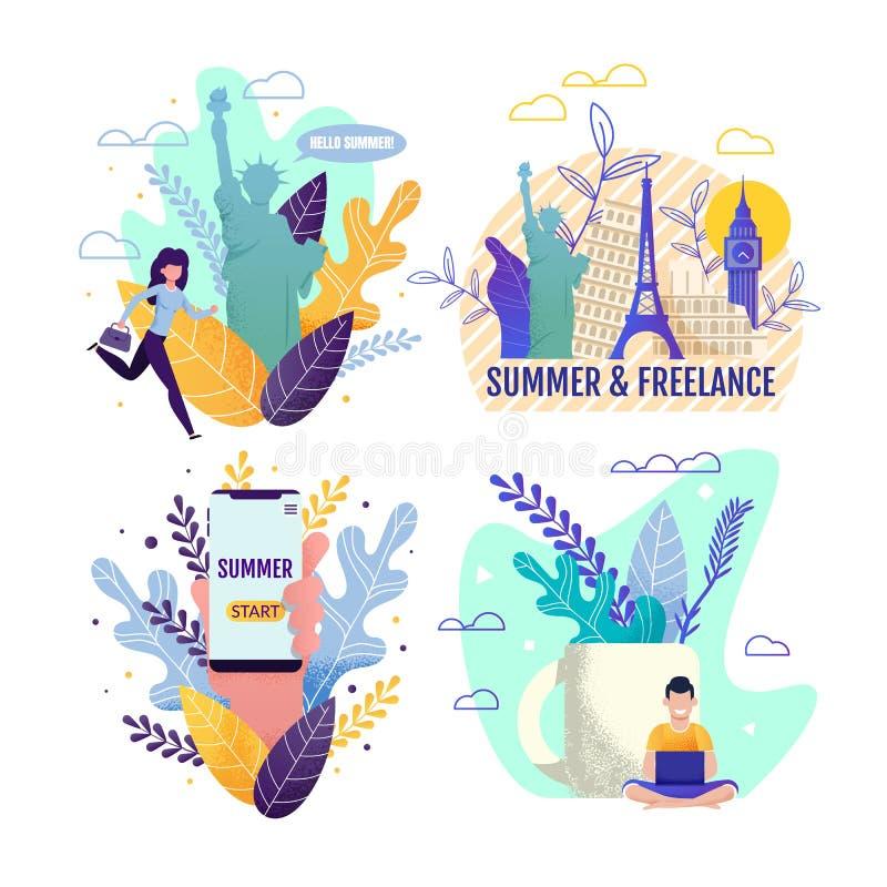 Sommarsemester och frilans- tecknad filmkortuppsättning royaltyfri illustrationer