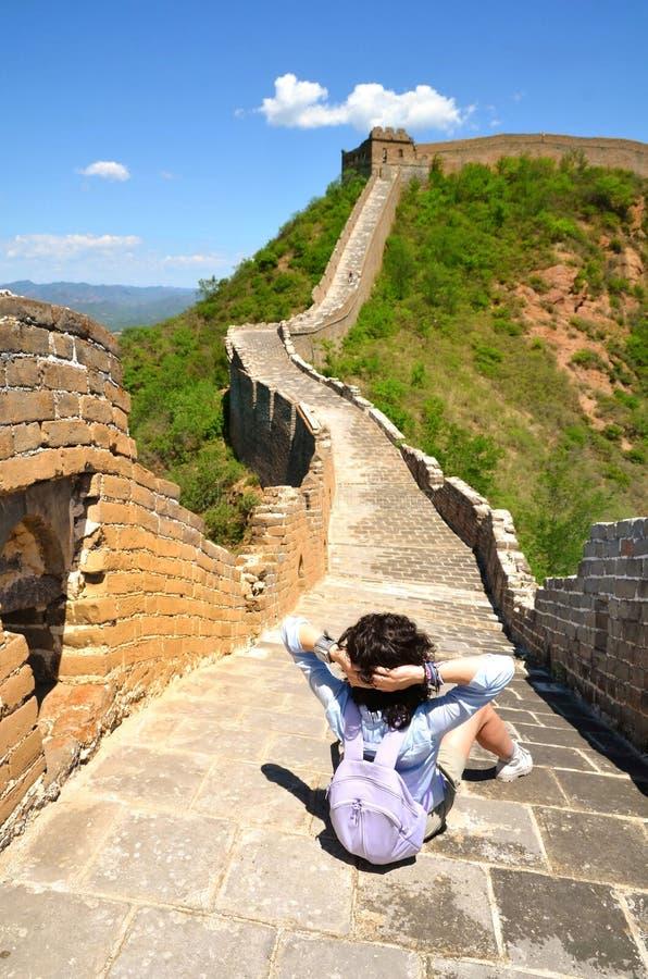 Sommarsikt p? den stora v?ggen Kina arkivbilder