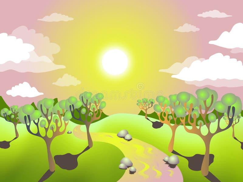 sommarsolnedgång stock illustrationer