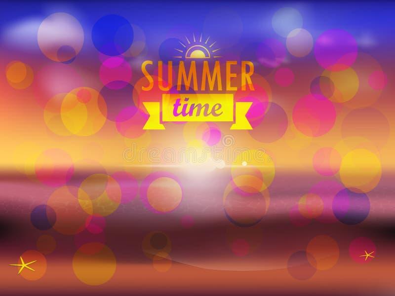 Sommarsolnedgångparti stock illustrationer