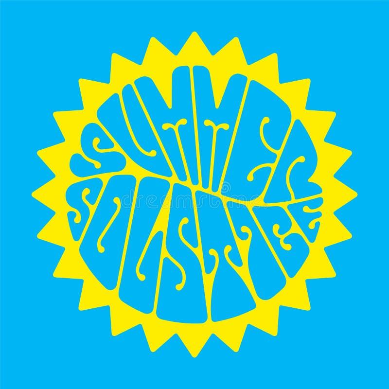 Sommarsolstånd - handskrivet bokstävercitationstecken royaltyfri illustrationer