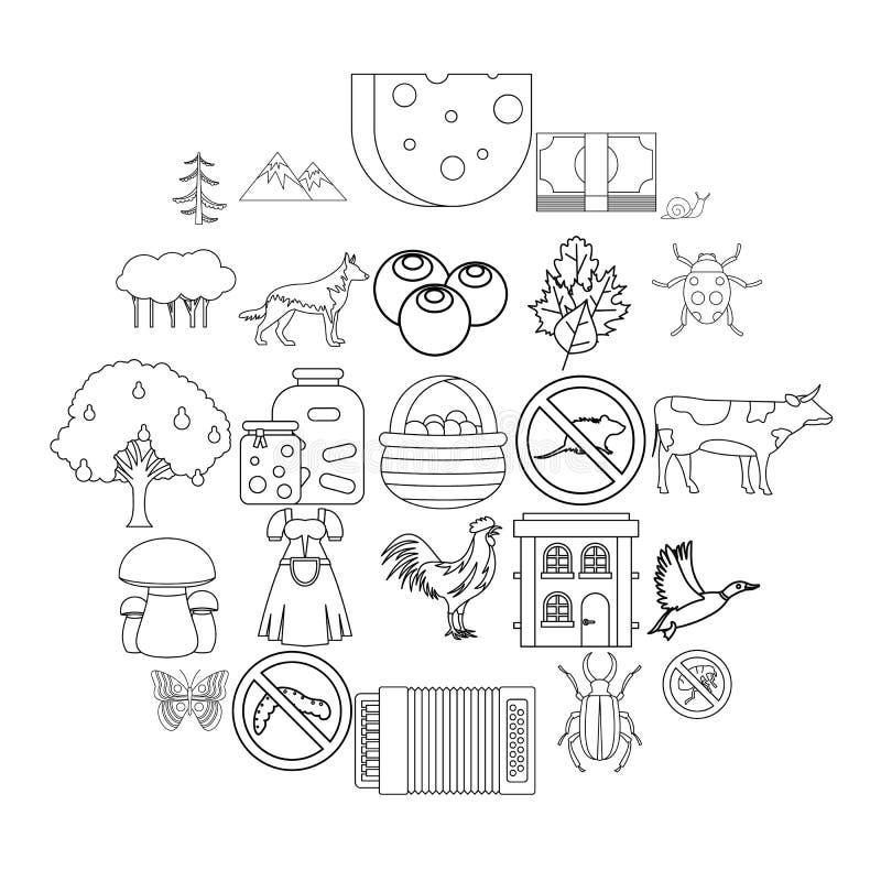 Sommarställesymbolsuppsättning, översiktsstil royaltyfri illustrationer