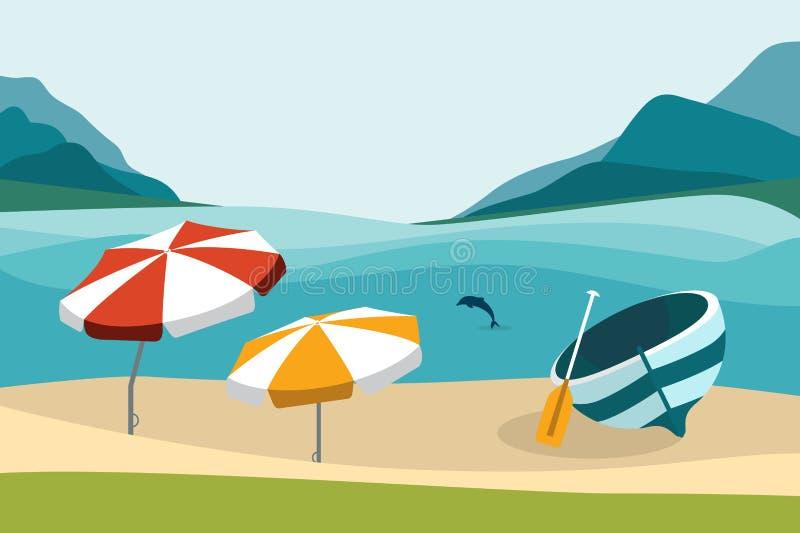 Sommarstrand med färgparaplyer Plan design stock illustrationer
