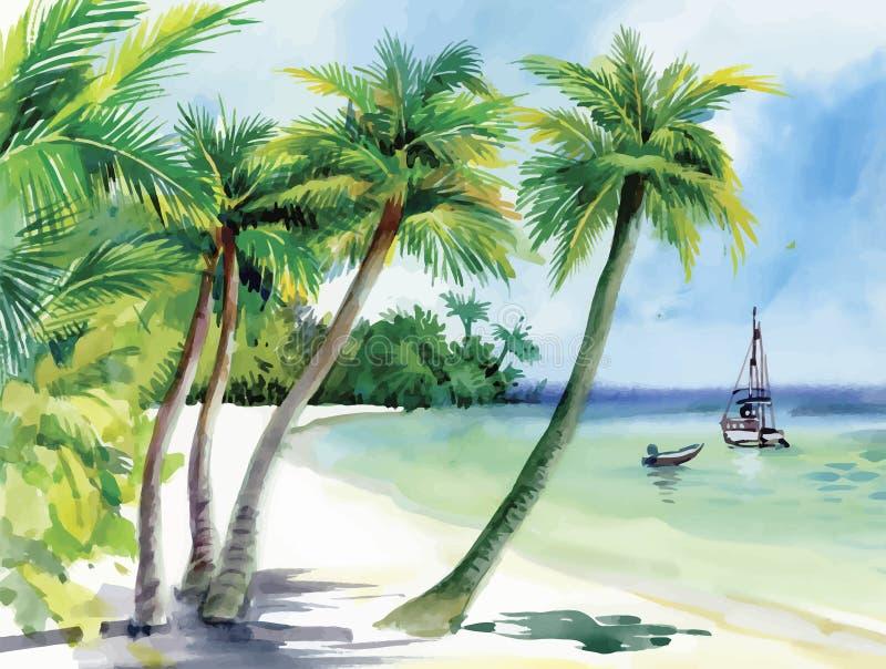 Sommarstrand med palmträd, seagulls och fartyget på kusten, dragen hand, vektor stock illustrationer