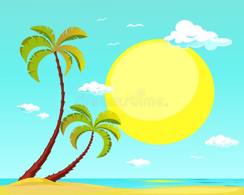 Sommarstrand med palmträdet och den stora solen - vektor royaltyfri illustrationer