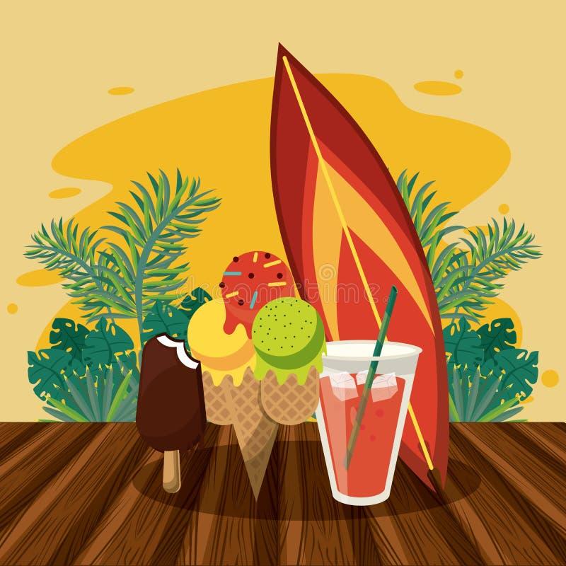 Sommarstrand och semestrar stock illustrationer