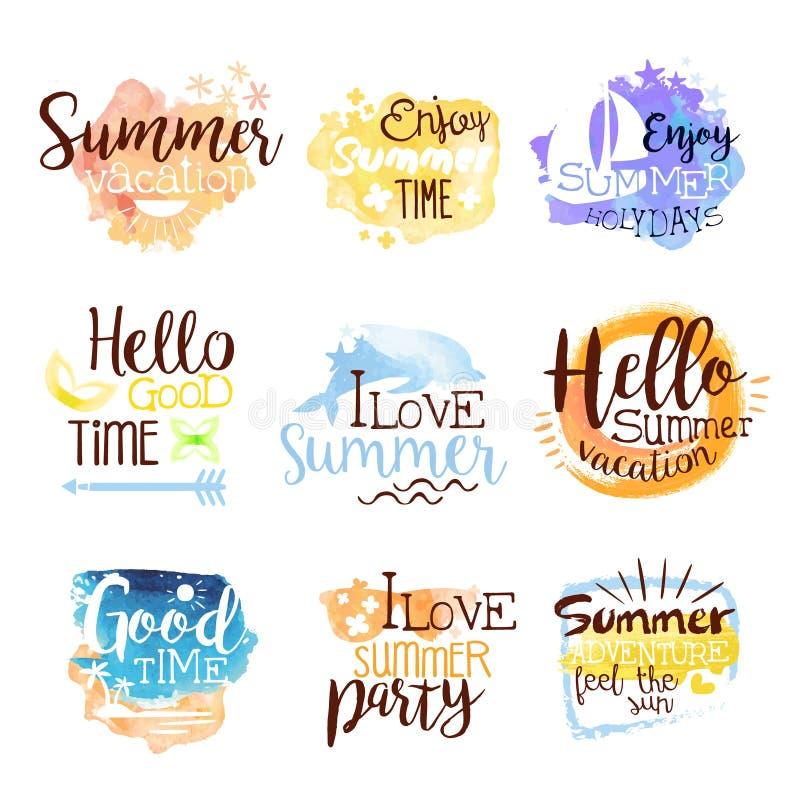 Sommarstranden semestrar den färgrika etikettuppsättningen vektor illustrationer