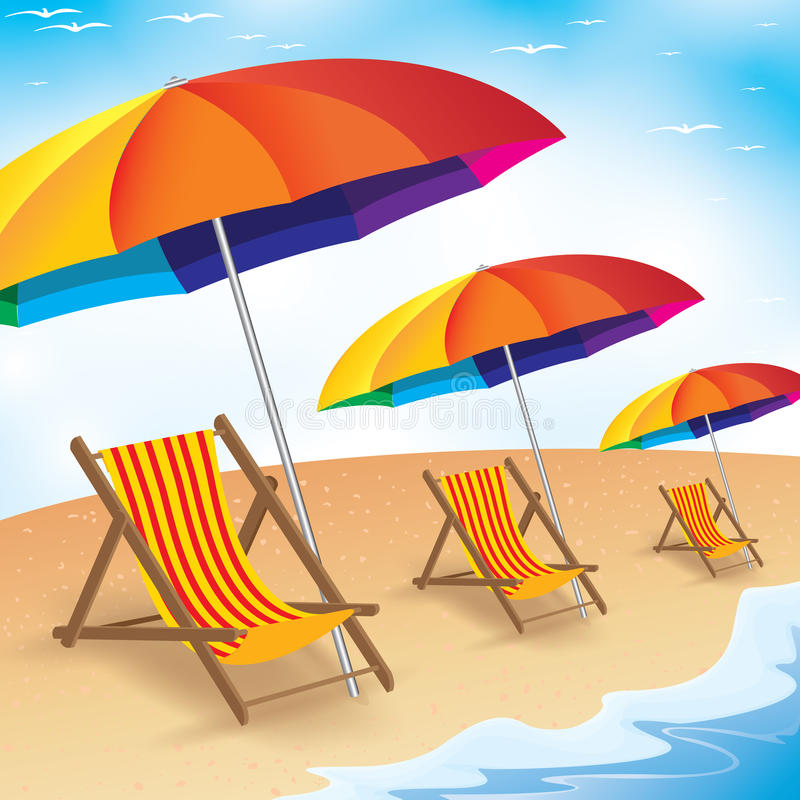 Sommarstrandferie Kust med strandparaplyet och stol Sommarbakgrund av strandferie royaltyfri illustrationer