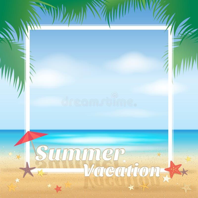 Sommarstrandparti, bakgrund för sommarsemester stock illustrationer