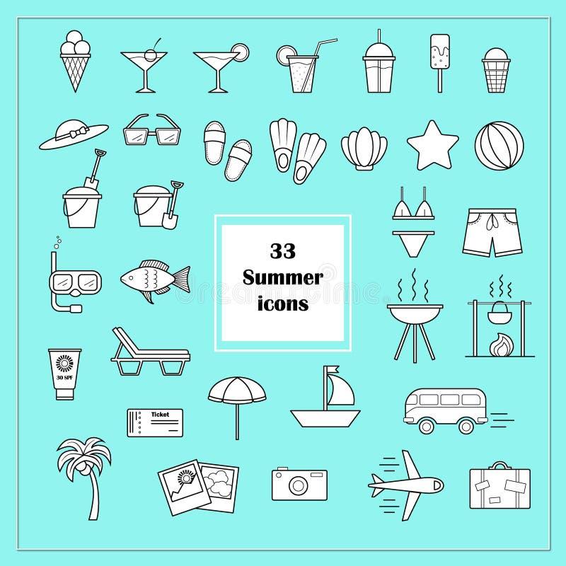 33 sommarsymboler i vektor vektor illustrationer