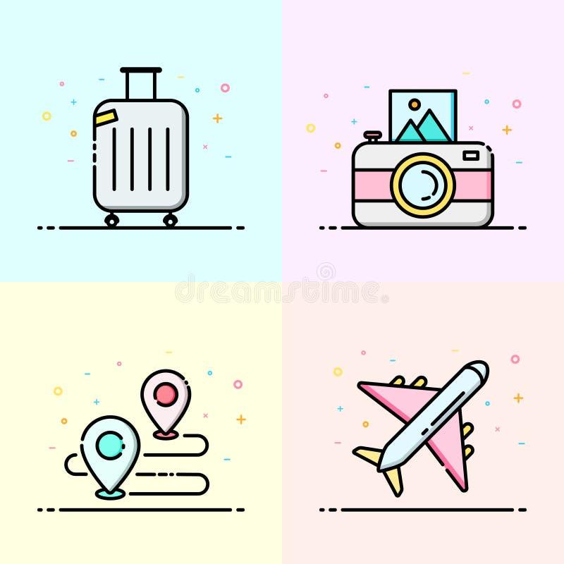 Sommarsymbolssamling i pastellfärgad färg vektor illustrationer