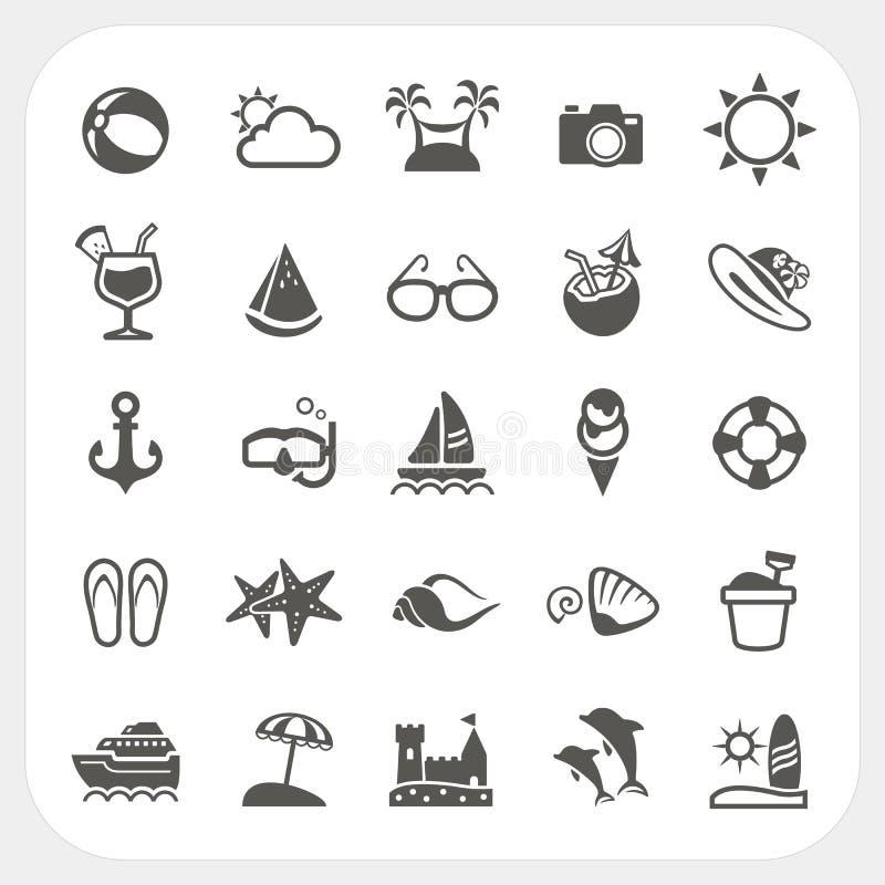 Sommarsymbolsuppsättning royaltyfri illustrationer
