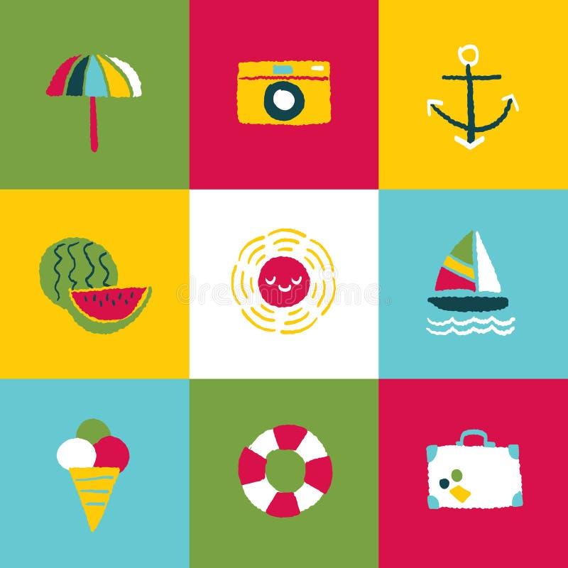 Sommarsymbolsuppsättning och tecken stock illustrationer