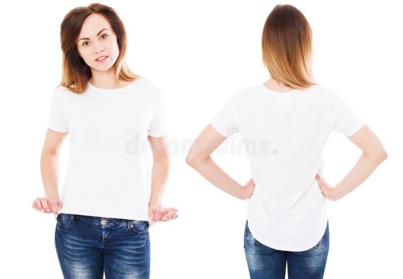 Sommart-skjorta upps?ttning som isoleras p? vitt, kvinna som pekas p? t-skjortan, flickapunkt p? tshirten arkivbild