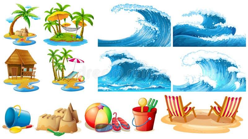Sommartema med blåttvågor och öar royaltyfri illustrationer