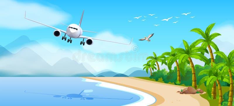 Sommartema med flygplanet som flyger över havet royaltyfri illustrationer