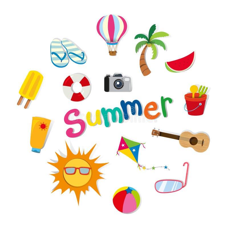 Sommartema med mat och objekt royaltyfri illustrationer