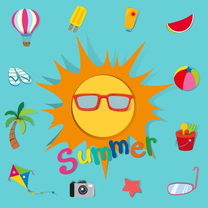 Sommartema med solen och objekt royaltyfri illustrationer