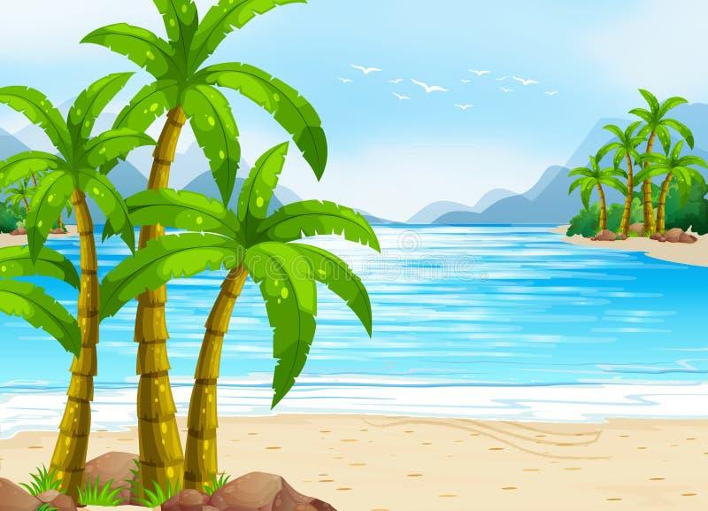 Sommartema med stranden och havet vektor illustrationer
