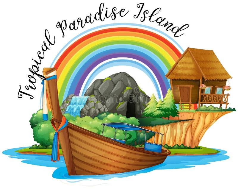 Sommartema med stugan och fartyget på ön royaltyfri illustrationer