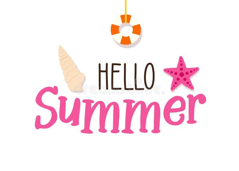 Sommartextbaner med strand- och flottabeståndsdelar - sjöstjärna, snäckskal och livboj Duva som symbol av förälskelse, pease stock illustrationer
